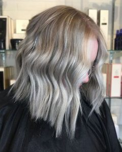 Grey Wavy Lob with Silver Hair Tinsel