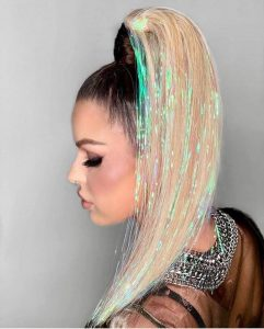 High Fashion High Pony with Holographic Hair Tinsel