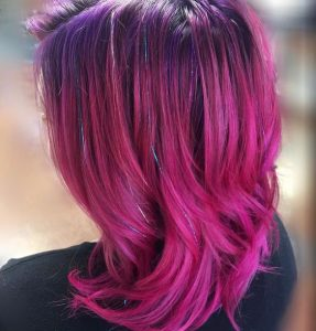 Magenta Hair with Lavender Tinsel Extensions