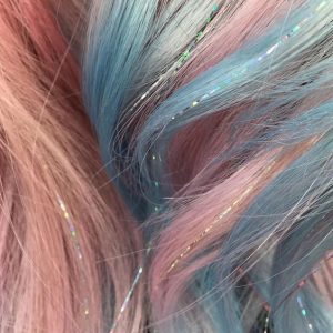 Pastel Blue and Pink Hair with Silvery Extensions