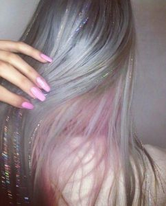 Pastel Hair with Iridescent Hair Tinsel