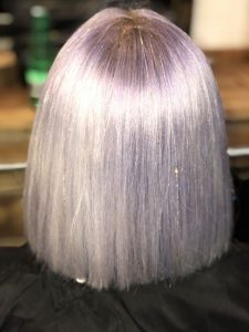 Lavender Bob with Iridescent Tinsel Extensions