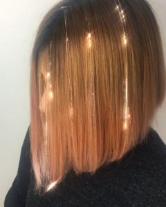Sleek Inverted Bob with Gold Extensions