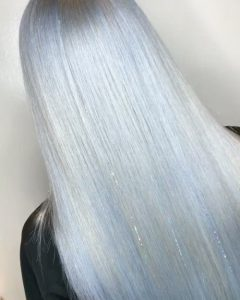 Sleek Silver Hair with Subtle Silver Tinsel Extensions