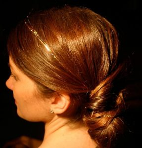 Sleek Up-Do with Subtle Tinsel Extensions
