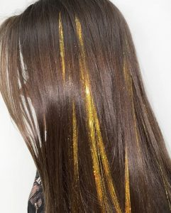 Thick Slices of Gold TInsel Extensions