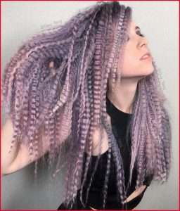 Crimped Hair in Shades of Purple