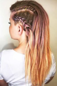 Crimped Hair with Braids