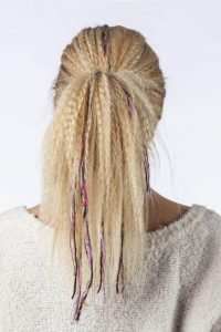 Crimped Ponytail with Yarn Extensions