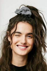 Tousled Half Up-Do with Scrunchie