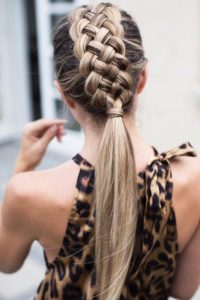 Five-Strand Braid and Low Ponytail