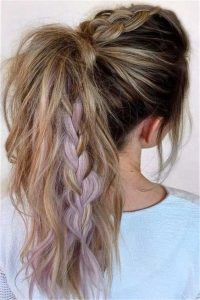 High Ponytail with Lovely Lilac Highlights