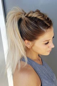 High Ponytail with Fishtail Braid