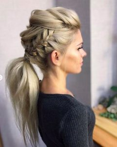 Low Ponytail with French Braids