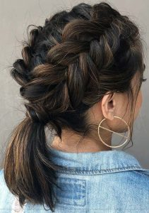 Messy Double Dutch Braids and Low Ponytail