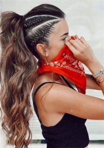 High Ponytail with Side Boxer Braids