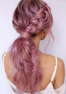 Rose Gold Ponytail with Dutch and Fishtail Braid