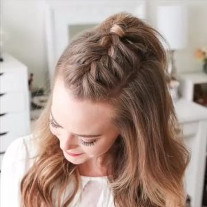 Simple Half-Up Do with French Braid