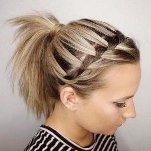 Waterfall Braid Headband and Ponytail