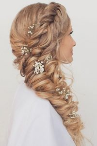 wedding side braid flower
