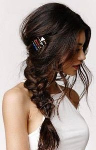 pin styled side pony braid