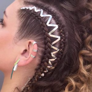 metallic side braiding