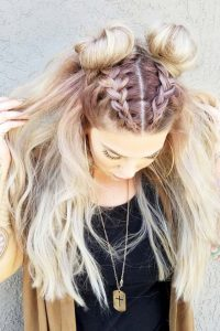 half braids into buns