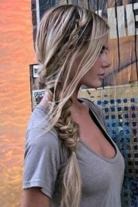 messy braid top and pony