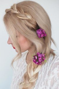 purple floral side braiding