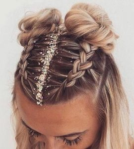 braided bun glitter part
