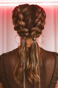 dutch braids with glitter embellishing