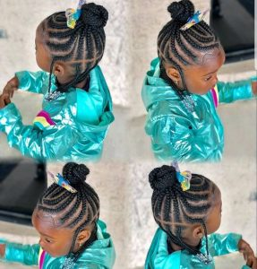 high cornrow bun