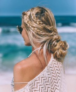 braids n buns for beach