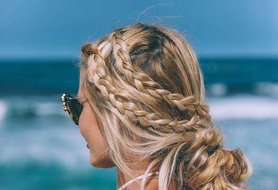 braids n buns for beach