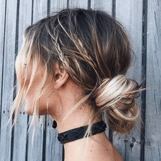 messy bun braided