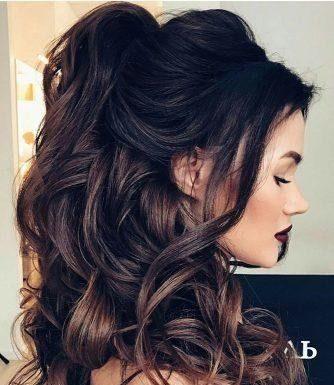 glam halfup curls