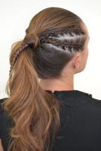 braids on side of ponytail wrapping
