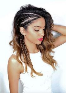 edgy side braids with curls