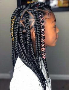triangle box braids with strings