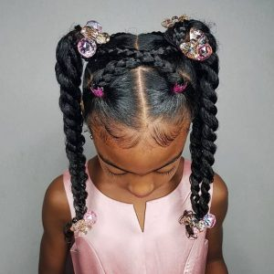 twist braided ponytails