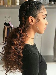 curly ends with french braid