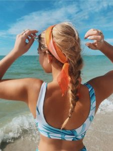 orange scarf french braid easy