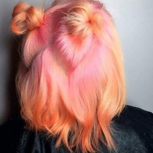 Pink and Blorange Melt Hair Color
