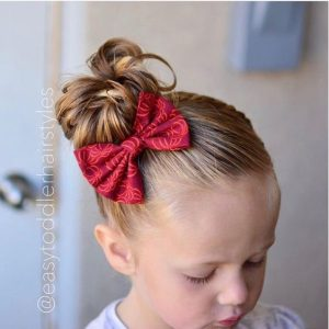 Asymmetric Messy Bun and Bow