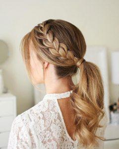 side braid ponytail new years