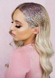 slicked glitter hair new year