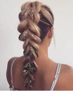 oversized braid with glitter