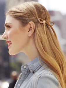 hair wrapped into bow