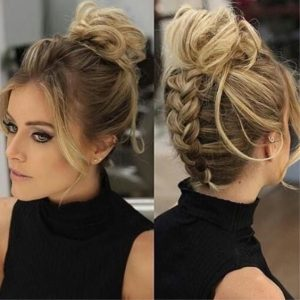 messy bun with hidden braid