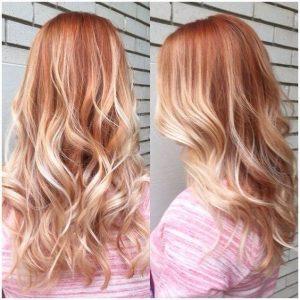 balayage red blonde